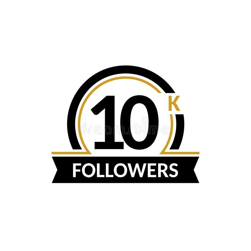 10000 seguidores e amigos, felicitações do aniversário 10K projetam o molde da bandeira Preto e ilustração do vetor do ouro ilustração do vetor