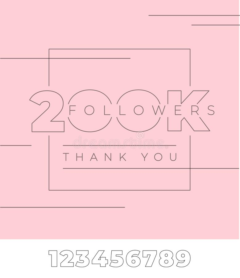 seguidores 200K, gracias Tipografía en fondo aislado rosa Plantilla Editable con todos los números para los medios sociales libre illustration
