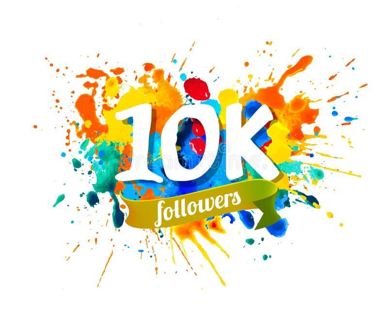 seguidores 10K Inscripción de la pintura del chapoteo libre illustration