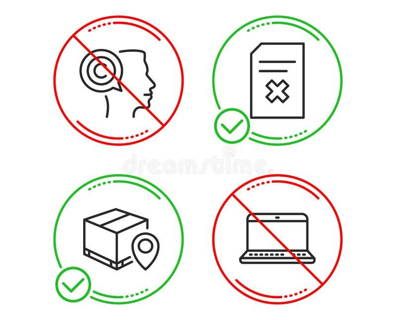 Seguimiento del paquete, sistema de los iconos del fichero del escritor y de la cancelaci?n Muestra del cuaderno Vector ilustración del vector