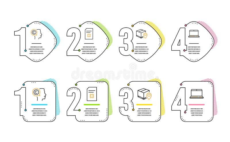 Seguimiento del paquete, sistema de los iconos del fichero del escritor y de la cancelaci?n Muestra del cuaderno Vector stock de ilustración