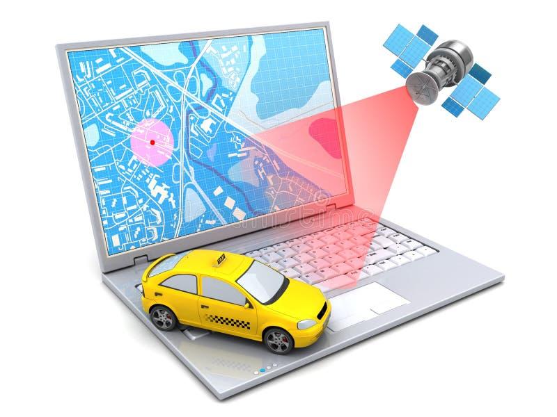 seguimiento del taxi ilustración del vector