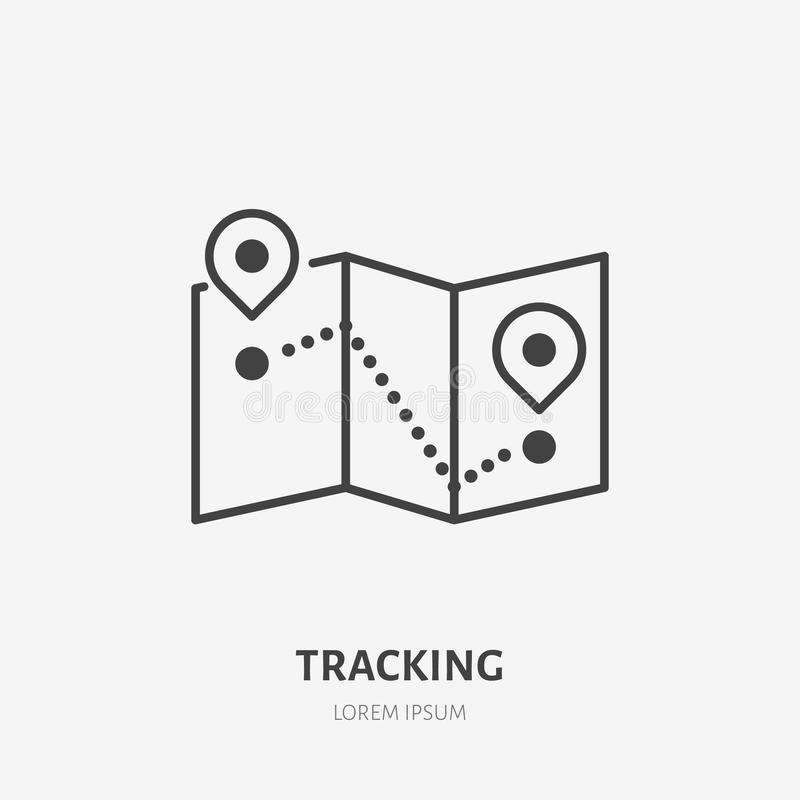 Seguindo a linha lisa ícone O mapa com lugar fixa o sinal Dilua o logotipo linear para a entrega, serviços de frete ilustração royalty free