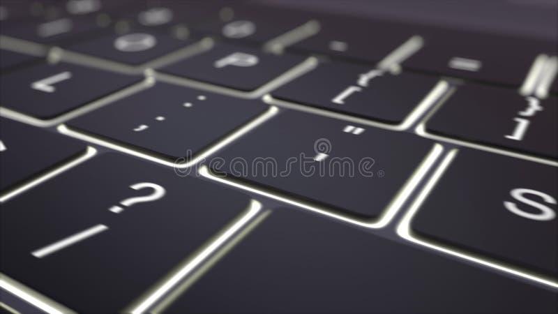 Seguindo o tiro do teclado de computador preto moderno e luminoso gaste a chave Grampo 4K conceptual ilustração royalty free
