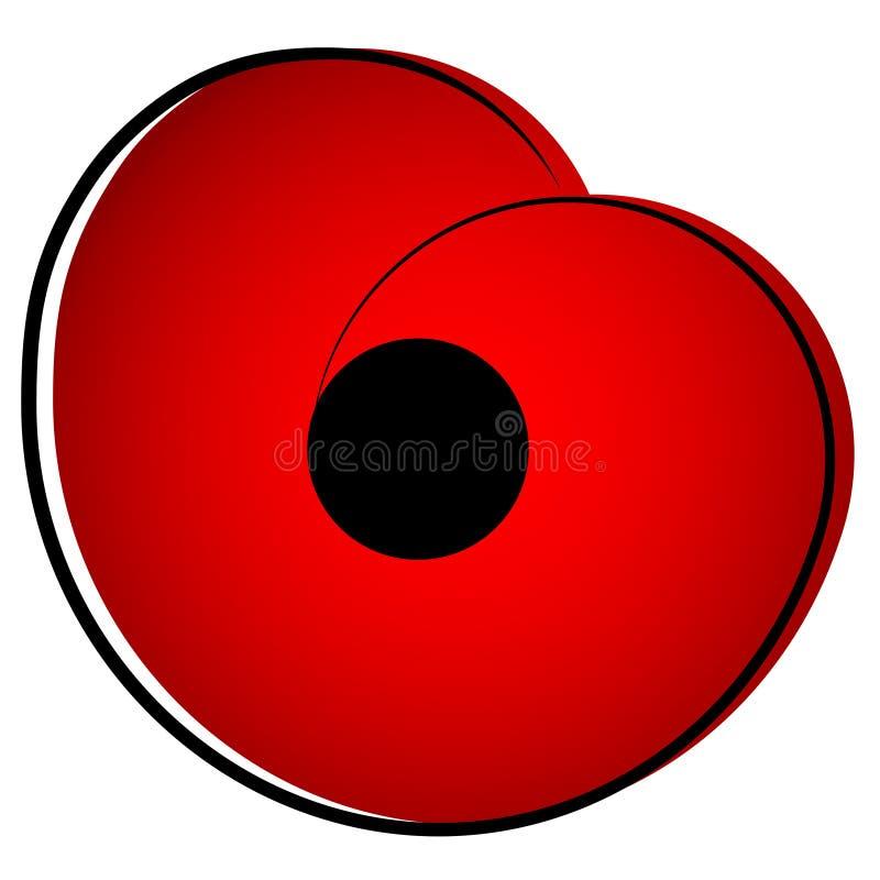 Segunda guerra mundial, símbolo comemorativo Papoila vermelha ilustração royalty free