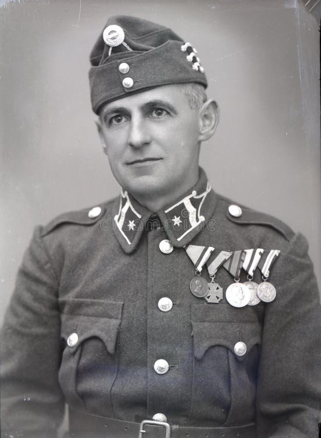 Segunda guerra mundial / Soldado húngaro da era de Horthy, oficial do Hungarian da era de Horthy fotos de stock royalty free