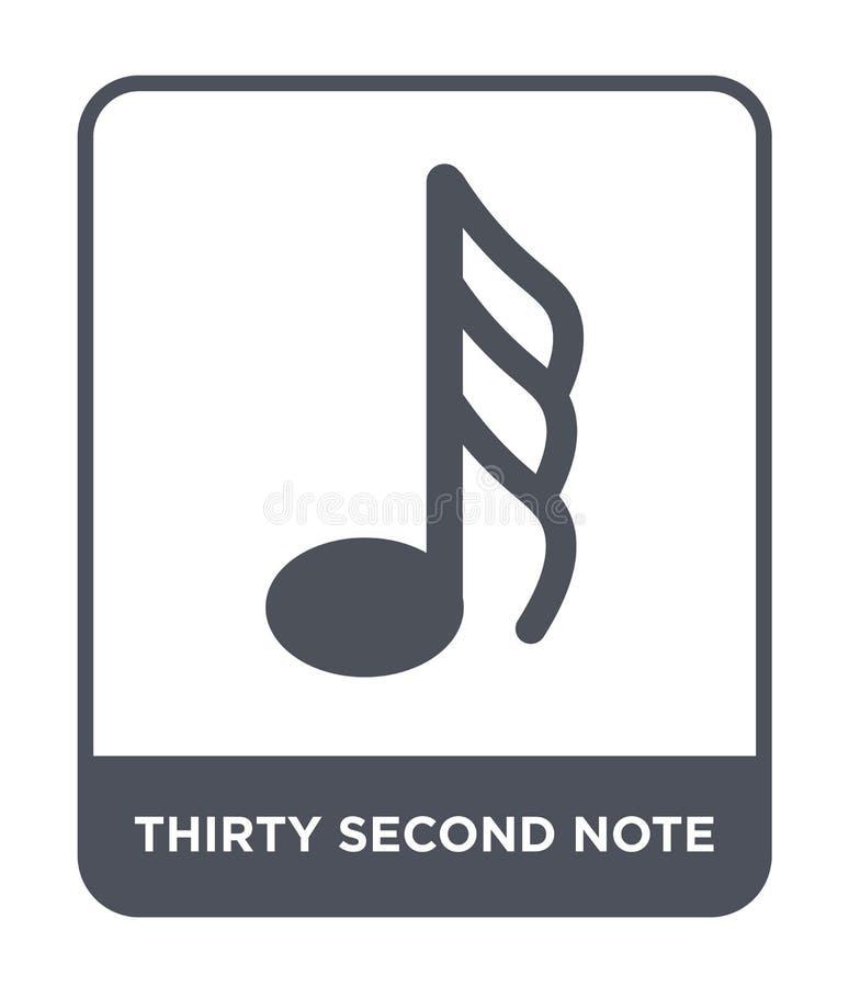 segundo icono de la nota treinta en estilo de moda del diseño segundo icono de la nota treinta aislado en el fondo blanco segundo stock de ilustración