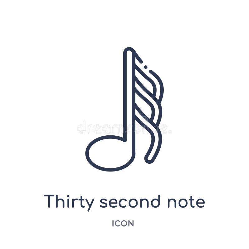 Segundo icono de la nota treinta de la música y de la colección del esquema de los medios Línea fina treinta segundo icono de la  ilustración del vector
