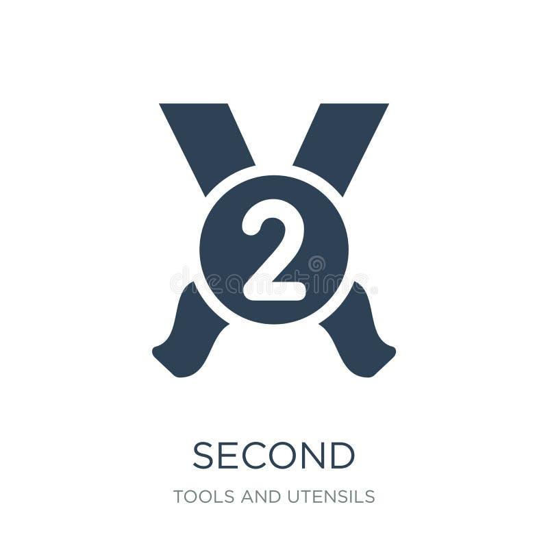 segundo icono en estilo de moda del diseño segundo icono aislado en el fondo blanco símbolo plano simple y moderno del segundo ic ilustración del vector