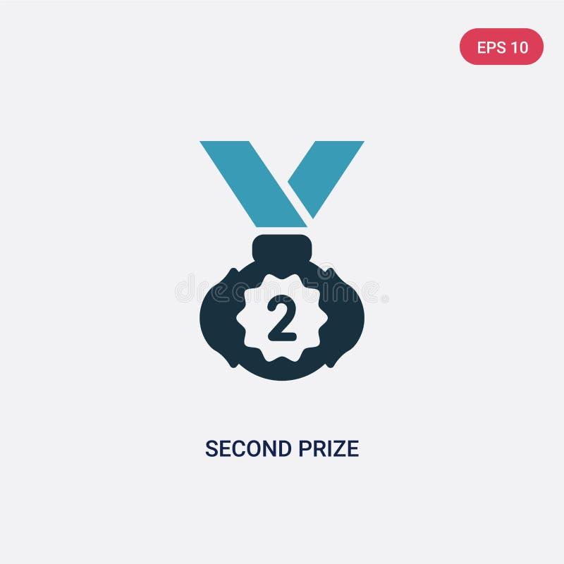 Segundo icono premiado bicolor del vector del concepto de los deportes el segundo símbolo premiado azul aislado de la muestra del stock de ilustración