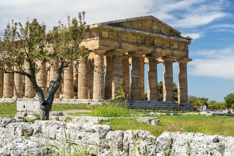 Segundo templo de Hera en Poseidonia Paestum, Campania, Italia fotografía de archivo libre de regalías