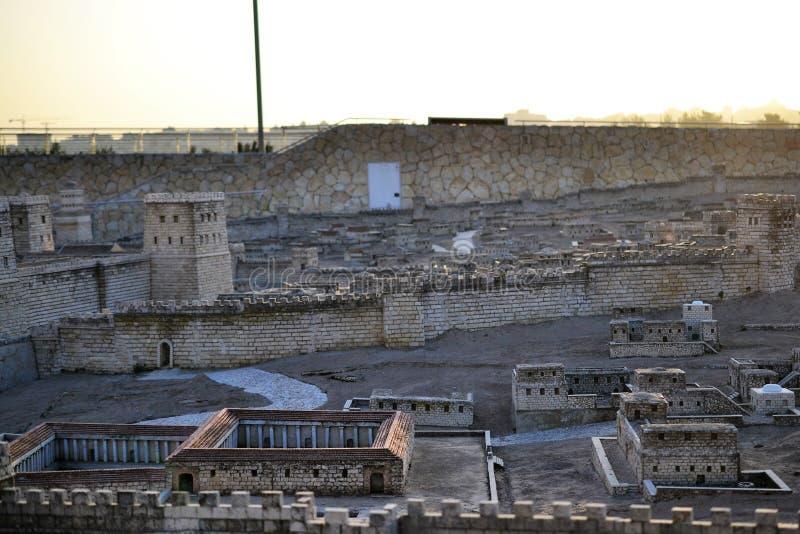 Segundo templo Modelo do Jerusalem antigo Israel Museum no Jerusalém fotos de stock royalty free