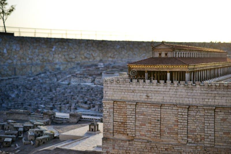 Segundo templo Modelo do Jerusalem antigo Israel Museum no Jerusalém fotografia de stock