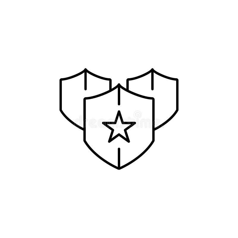 Segurança, ícone do SSL O elemento de dados gerais projeta o ícone para apps móveis do conceito e da Web A linha fina segurança,  ilustração royalty free