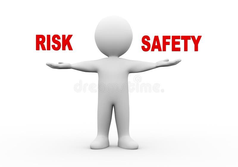 segurança aberta do risco das mãos do homem 3d ilustração royalty free