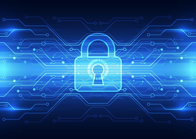 Segurança abstrata da tecnologia no fundo da rede global, ilustração do vetor ilustração stock