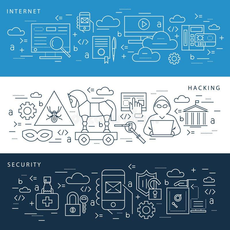 Segurança azul do Internet do vetor de Digitas ilustração royalty free