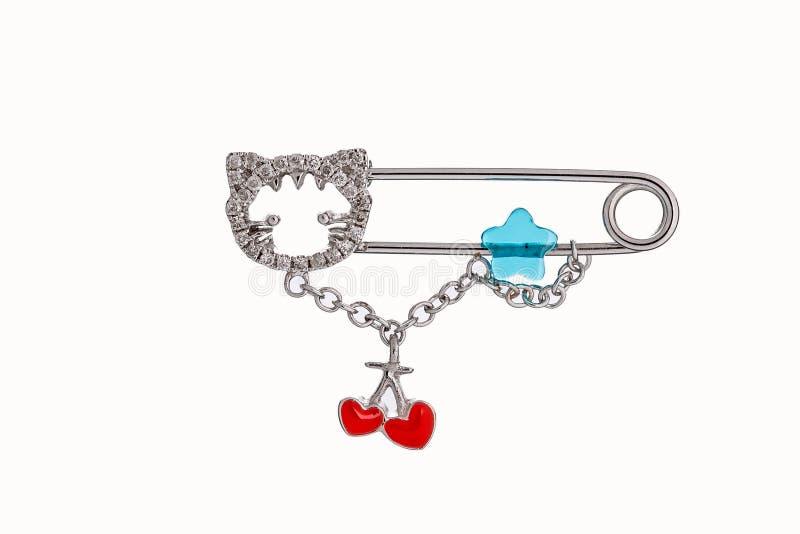 Segurança bonito bonita Pin Brooch Jewelry do bebê & da criança com o saf ilustração do vetor