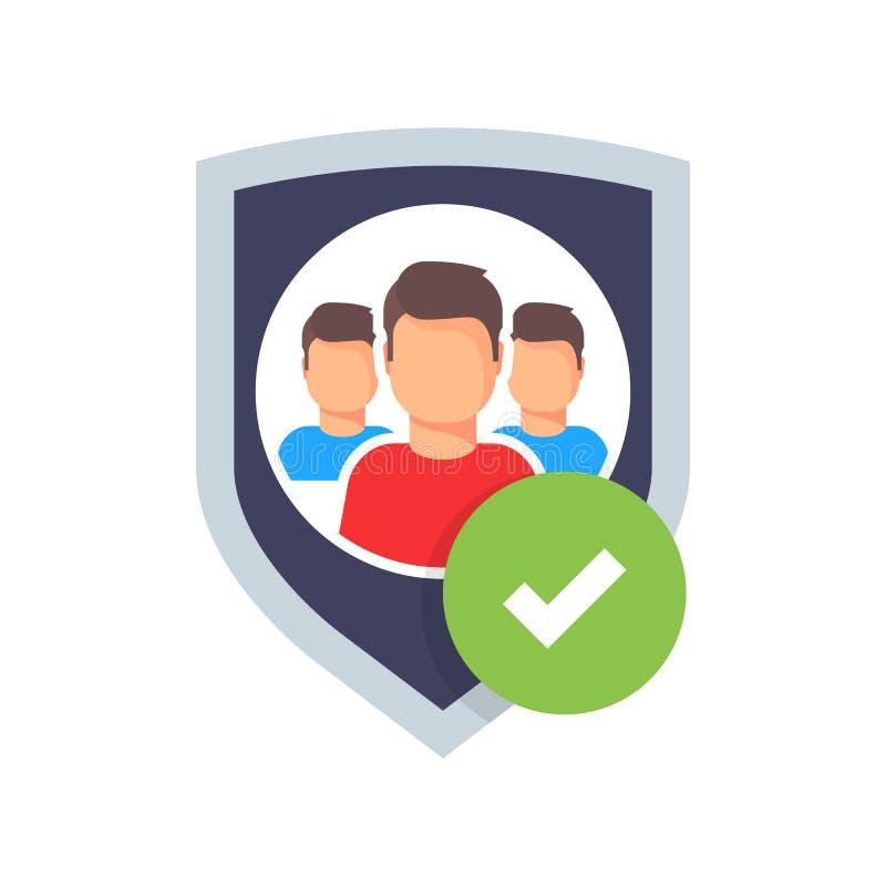 Segurança da família Logotipo da proteção Projeto do logotype da equipe Povos do grupo Fixe o ícone Cinco pessoas e protetor Veto ilustração do vetor