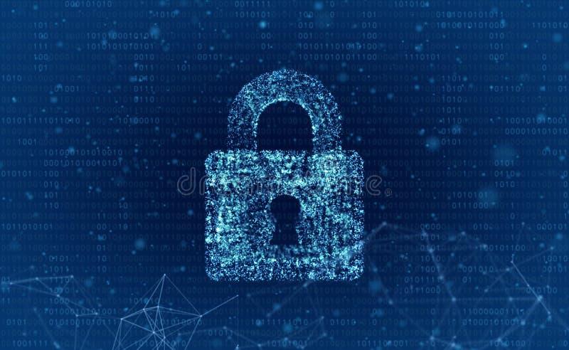 Segurança da rede da segurança de dados e do servidor de computador com um protecti ilustração royalty free