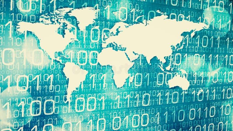 Segurança da rede do negócio global, fluxo de dados do cyber ilustração royalty free
