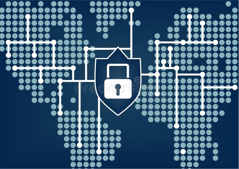 Segurança da TI para que a organização global impeça dados e rupturas da rede ilustração royalty free