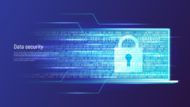 Segurança de dados, proteção de informação, conceito do controle de acesso ilustração do vetor