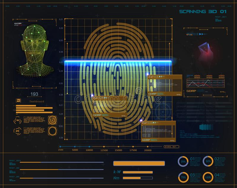 Segurança de Digitas, exploração eletrônica da impressão digital ilustração do vetor