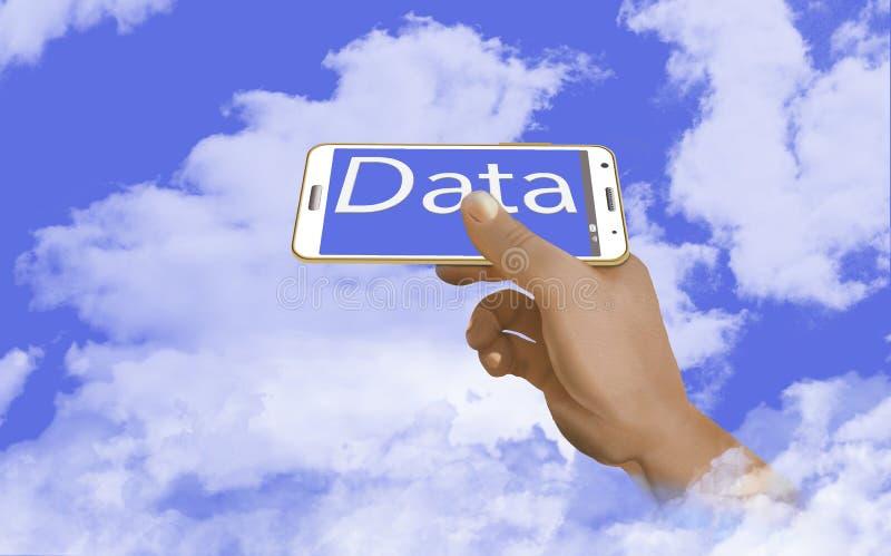 A segurança de seus dados na nuvem é o assunto desta ilustração de um telefone celular no céu acima das nuvens Uma mão guarda fotografia de stock