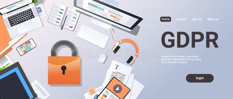 Segurança desktop regulamentar da informação da privacidade do cadeado da opinião de ângulo superior do conceito da proteção de d ilustração royalty free