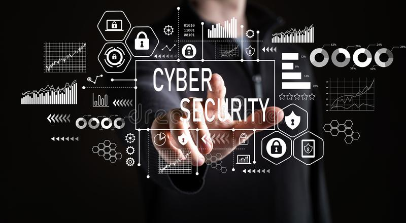 Segurança do Cyber com homem de negócios foto de stock