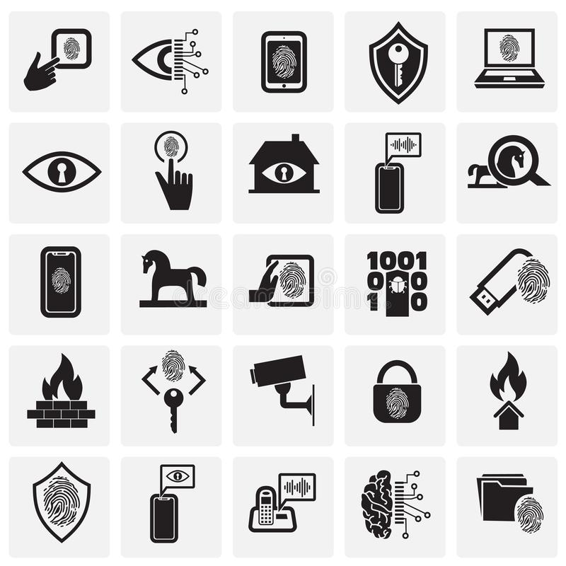 Segurança do Cyber e grupo do computador no fundo dos quadrados para o gráfico e o design web, sinal simples moderno do vetor Con ilustração stock
