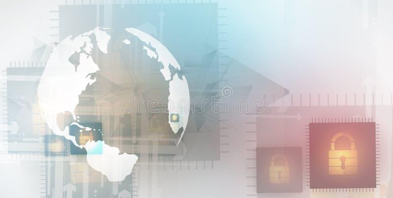 Segurança do Cyber e proteção da informação ou da rede Futuro técnico ilustração do vetor