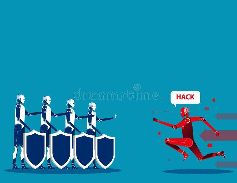 Segurança do Cyber Ilustração do vetor da segurança do cyborg do conceito ilustração do vetor