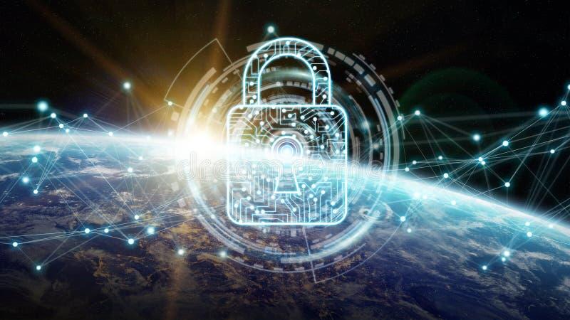 Segurança do Cyber na rendição da terra 3D do planeta ilustração stock
