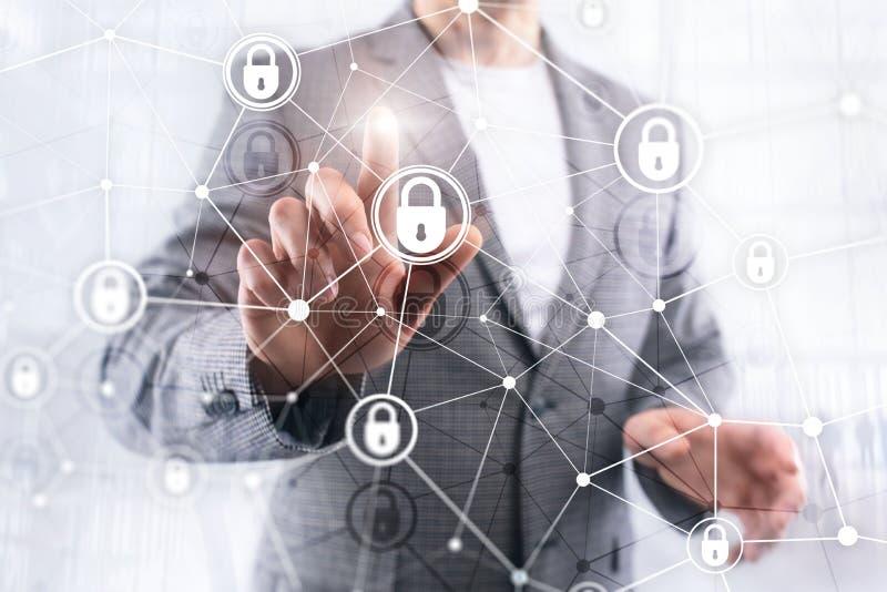 Segurança do Cyber, privacidade da informação, conceito da proteção de dados no fundo moderno da sala do servidor Engodo do Inter ilustração do vetor
