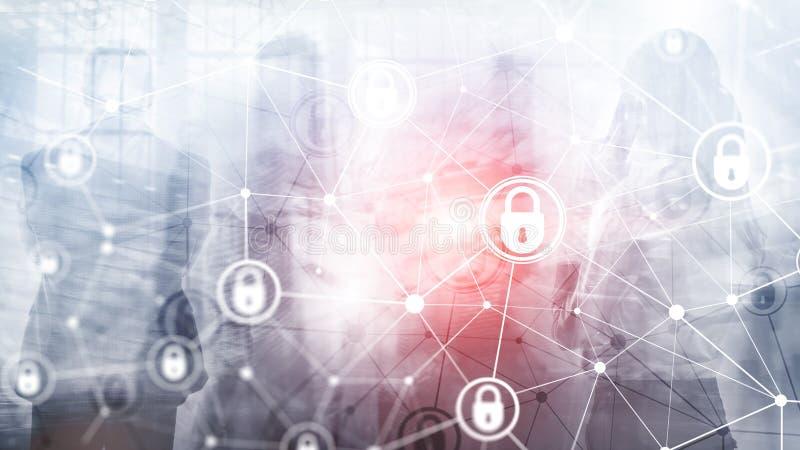 Segurança do Cyber, privacidade da informação, conceito da proteção de dados no fundo moderno da sala do servidor Internet e digi ilustração royalty free