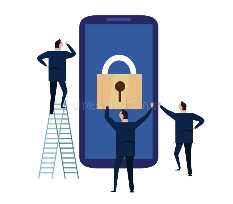 Segurança do dispositivo móvel Conceito da segurança do Cyber informações pessoais e dados de proteção com smartphone Ilustração ilustração do vetor