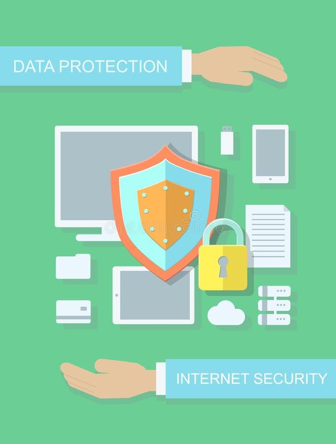 Segurança do Internet, conceito liso da ilustração da proteção de dados para bandeiras da Web, locais, infographics ilustração stock