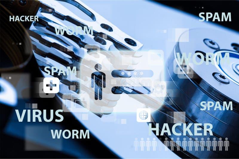 Segurança do Internet do vírus dos ataques do vírus ilustração stock