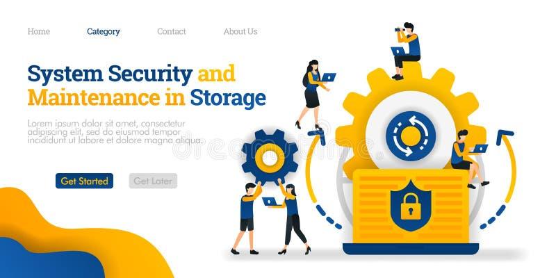 Segurança do sistema e manutenção no armazenamento segurança do sistema em dados de manutenção Conceito liso da ilustração do vet ilustração royalty free