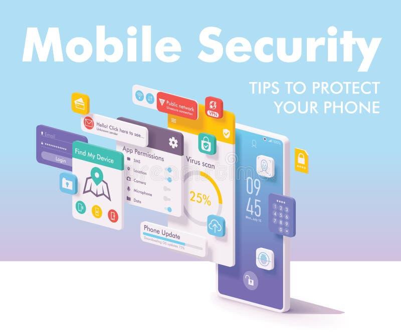 Segurança do vetor e conceito móveis da proteção de dados ilustração stock