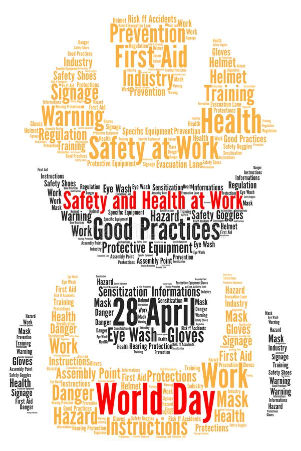 Segurança e saúde do dia do mundo no trabalho ilustração do vetor
