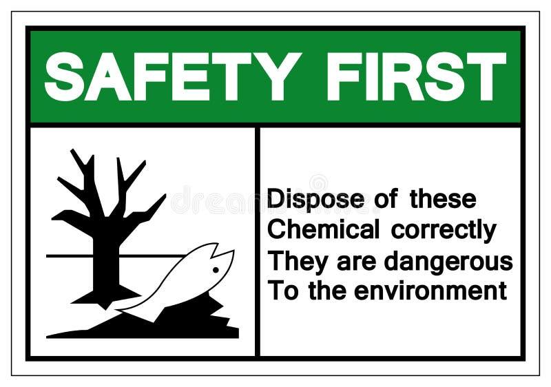 A segurança em primeiro lugar dispõe destes químicos corretamente eles é perigosa ao sinal do símbolo do ambiente, ilustração do  ilustração do vetor