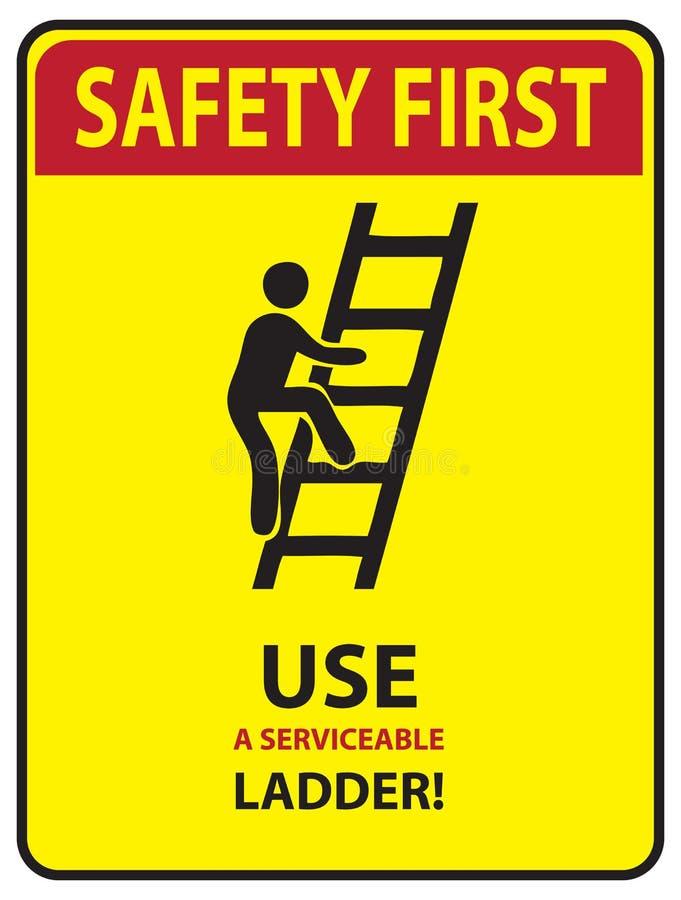 Segurança em primeiro lugar - escada ilustração royalty free