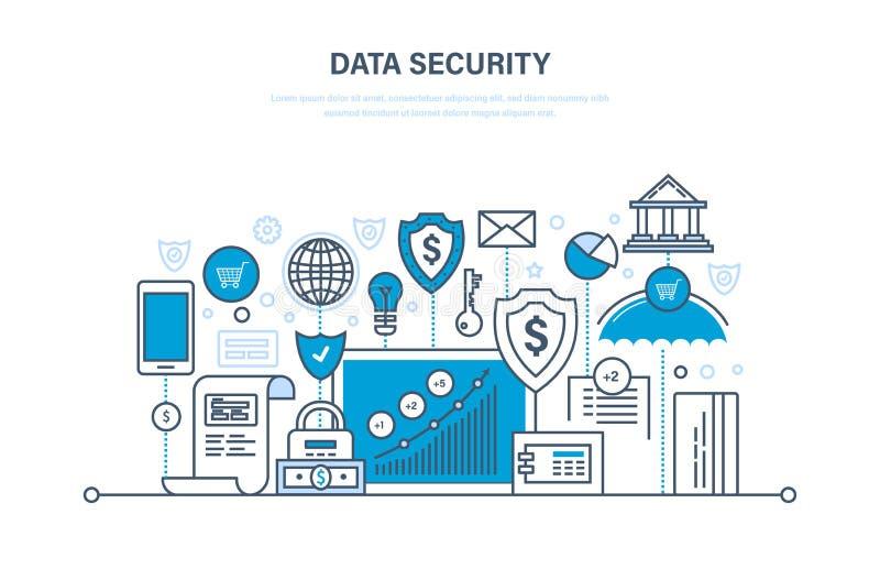 Segurança, integridade de dados, proteção, depósitos de segurança, pagamentos, informação da integridade da garantia ilustração royalty free