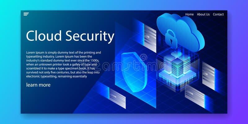 Segurança isométrica da nuvem, conceito de sistema da informação da proteção, molde da Web, ilustração do vetor ilustração do vetor