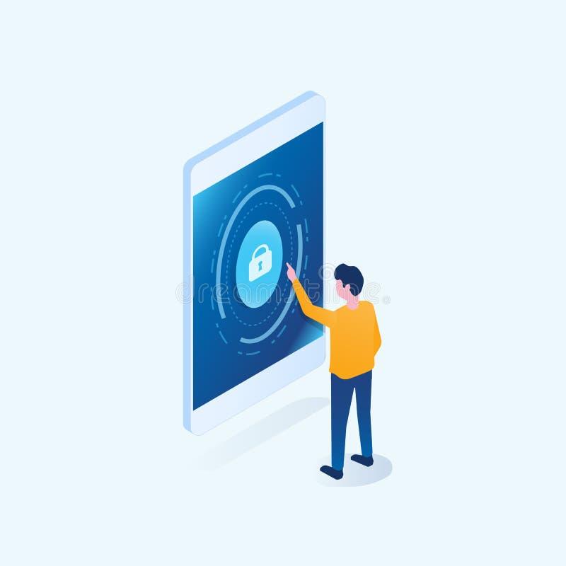 Segurança isométrica do cyber do Internet do negócio para o conceito em linha móvel ilustração stock