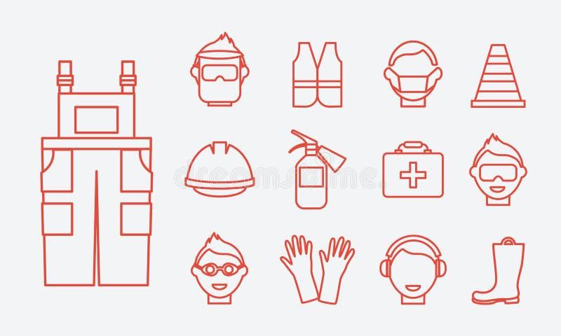Segurança no trabalho Linha grupo da segurança de trabalho do vetor dos ícones ilustração royalty free