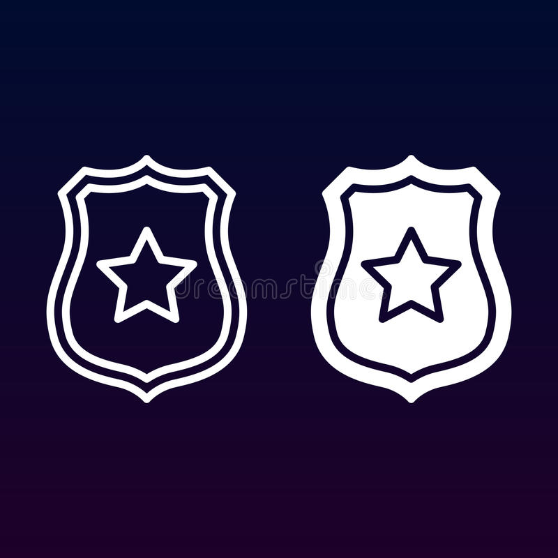 Segurança pública, crachá do xerife com linha da estrela e ícone contínuo, esboço e pictograma enchido do sinal do vetor, o linea ilustração do vetor